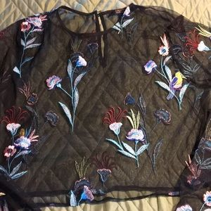 Forever 21 sheer net top with floral embroidery XL